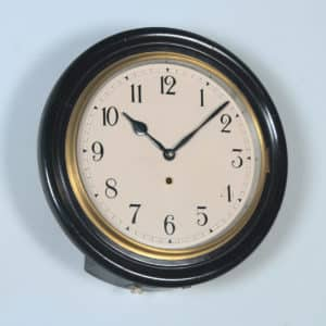 "Antique 16"" Mahogany Railway Station / School Round Dial Wall Clock (Timepiece) - yolagray.com"