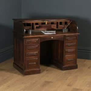 Antique English Edwardian 4ft Solid Oak D Shape Roll Top Pedestal Office Desk (Circa 1910) - yolagray.com