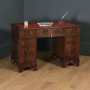 Vintage Georgian Style Flame Mahogany & Red Leather 4ft Office Desk (Circa 1980) - yolagray.com