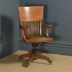 Antique American Edwardian Art Nouveau Oak Revolving Office Desk Arm Chair by Johnson Chair Co. (Circa 1910) - yolagray.com