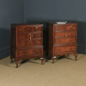 Vintage English Near-Pair of Queen Anne Style Flame Mahogany & Burr Walnut Tallboy Chests of Drawers (Circa 1950) - yolagray.com