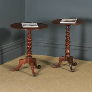 Antique English Victorian Matched Pair of Mahogany Circular Occasional Tripod Wine Tables (Circa 1880) - yolagray.com