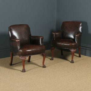Vintage Pair of English Georgian Style Brown Leather Upholstered Armchairs (Circa 1950) - yolagray.com