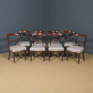 Antique English Victorian Set of Eight 19th Century Mahogany Spoon Back Dining Chairs (Circa 1850) - yolagray.com