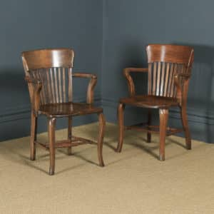 Antique Pair of English Edwardian / George V Oak Office Desk Arm Chairs (Circa 1910 - 1920) - yolagray.com