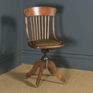 Antique English Edwardian Solid Oak & Green Leather Revolving Office Desk Chair (Circa 1910) - yolagray.com