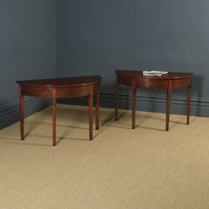 Pair of English Georgian Style Mahogany Demi Lune Console Side Hall Tables (Circa 1930) - yolagray.com