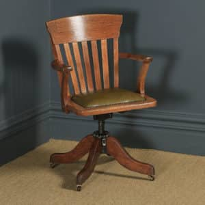 Antique American Edwardian Oak & Green Leather Revolving Office Desk Arm Chair by Heywood Brothers & Wakefield Co., (Circa 1910) - yolagray.com