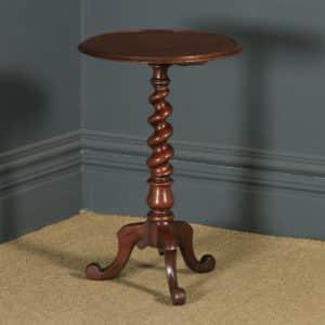 Antique English Victorian Mahogany Circular Occasional Tripod Wine Table (Circa 1880) - yolagray.com
