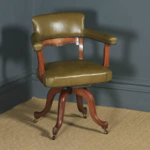 Antique Victorian Aesthetic Mahogany & Leather Revolving Office Arm Chair (Circa 1900) - yolagray.com
