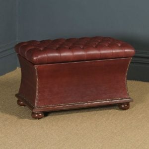 Antique English Victorian Mahogany & Burgundy Red Leather Upholstered Concave Ottoman Box (Circa 1870) - yolagray.com