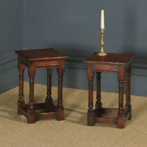 Vintage English Pair of 17th Century Style Solid Oak Joint Stools / Tables (Circa 1970) - yolagray.com