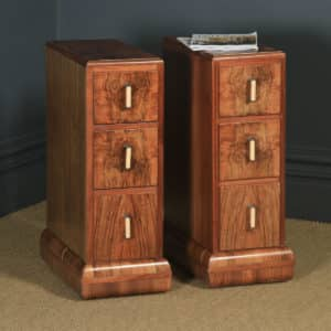 Antique English Pair of Art Deco Figured Walnut Bedside Chests / Cabinets / Nightstands (Circa 1930) - yolagray.com