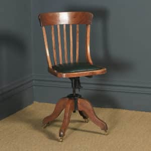 Antique English Edwardian Solid Beech & Green Leather Revolving Office Desk Chair (Circa 1910) - yolagray.com