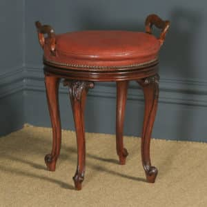 Antique English Victorian Walnut & Brown Leather Revolving Music / Dressing Table Stool (Circa 1880) - yolagray.com