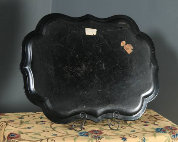 Antique English Victorian Ebonised Chinoiserie Floral Papier Mâché Drinks Butlers Tray (Circa 1860) - yolagray.com