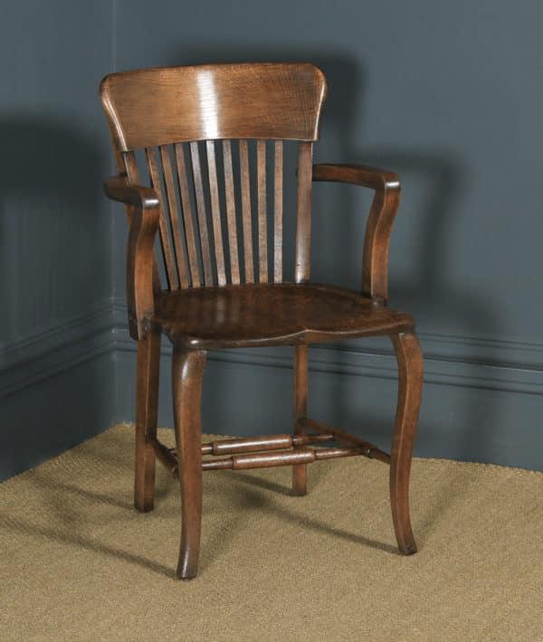 Antique Pair of English Edwardian / George V Oak Office Desk Arm Chairs (Circa 1910 - 1920) - yolagray.com