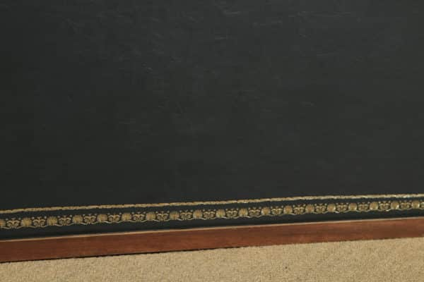 Antique Edwardian Regency Style Inlaid Mahogany & Leather Bow Front Ladies Writing Table Desk by S & H Jewell of London (Circa 1910) - yolagray.com