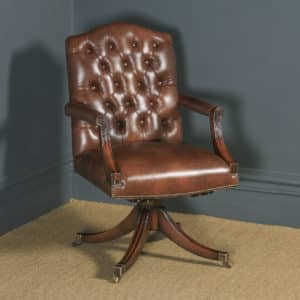 Single Georgian Regency Style Mahogany & Leather Revolving Desk Armchair (Circa 1970) - yolagray.com