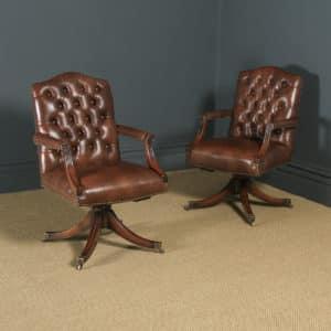 Pair of English Georgian Regency Style Mahogany & Brown Leather Revolving Office Desk Library Armchairs (Circa 1970) - yolagray.com