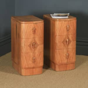 Antique English Pair of Art Deco Figured Walnut Bow Front Bedside Chests Tables Nightstands (Circa 1930) - yolagray.com