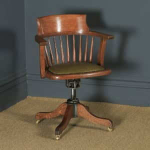 Antique English Edwardian Oak & Green Leather Revolving Swivel Office Desk Arm Chair (Circa 1910) - yolagray.com