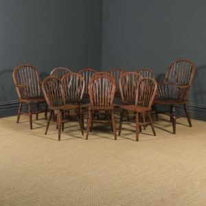 Antique Set of 12 Victorian Ash & Elm Windsor Stick & Hoop Back Kitchen Chairs (Circa 1880 – 1920) - yolagray.com