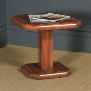 Art Deco English Burr Walnut Square Centre Occasional Coffee Side Lamp Pedestal Table (Circa 1930) - yolagray.com