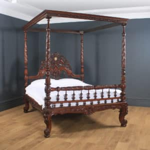 "Antique 5ft 7"" Victorian Anglo-Indian Colonial Raj King Size Four Poster Bed (Circa 1860) - yolagray.com"