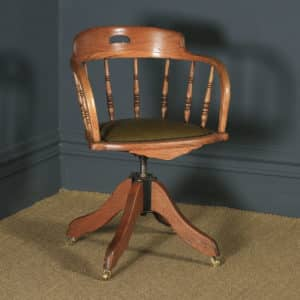 Antique English Victorian Solid Ash & Oak Green Leather Revolving Office Desk Arm Chair (Circa 1895) - yolagray.com