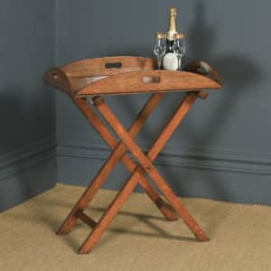 Antique English Victorian 19th Century Oak Butlers Drinks Tray Table & Stand (Circa 1890) - yolagray.com