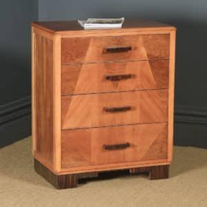 Antique English Art Deco Ruhlmann Style Figured Walnut & Macassar Ebony Bedroom Chest of Drawers / Bedside / Nightstand (Circa 1940) - yolagray.com