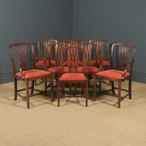 Antique Set of Eight English Georgian Hepplewhite Style Inlaid Mahogany Dining Chairs (Circa 1910) - yolagray.com