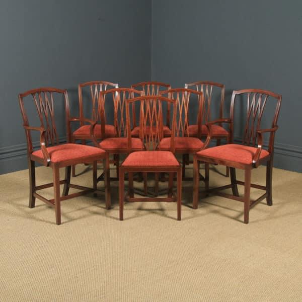 Antique Set of Eight English Georgian Hepplewhite Style Inlaid Mahogany Dining Chairs (Circa 1910) - yolagray.com