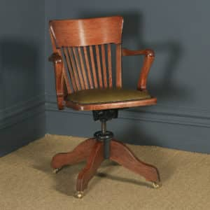Antique English Edwardian Solid Oak & Green Leather Revolving Office Desk Arm Chair By William Angus & Co. (Circa 1910) - yolagray.com