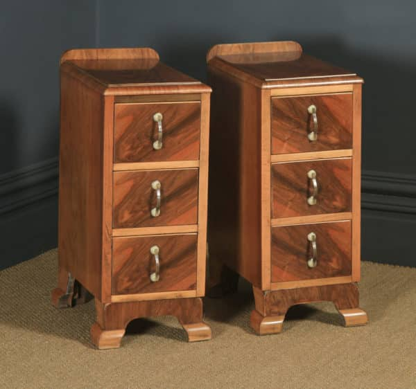 Antique English Pair of Art Deco Figured Walnut Bedside Chests Tables Nightstands (Circa 1930) - yolagray.com