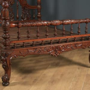 """Antique 5ft 7"""" Victorian Anglo-Indian Colonial Raj King Size Four Poster Bed (Circa 1860) - yolagray.com"""