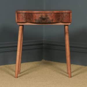 Antique English Art Deco Burr Walnut Bowed Bedside / Occasional Side Table (Circa 1930) - yolagray.com