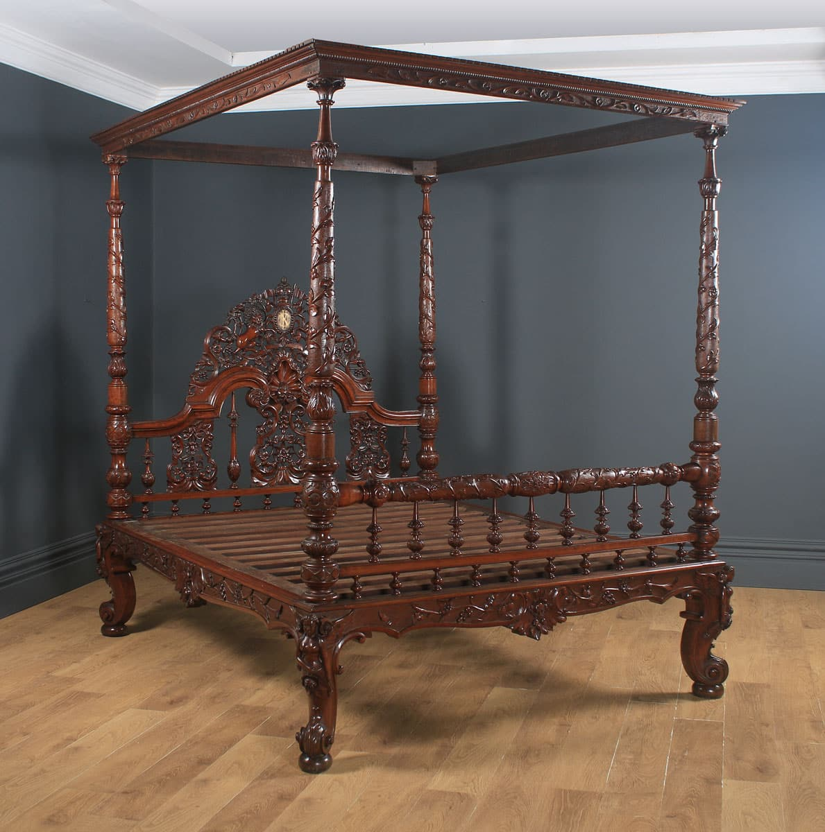 Colonial King Size Bed Four Poster Victorian Raj Yola Gray Antiques