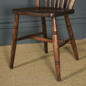 Antique Set of 12 Victorian Ash & Elm Windsor Stick & Hoop Back Kitchen Chairs (Circa 1880 – 1920) - yolagray.com