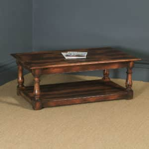 Vintage English 17th Century Style Oak Rectangular Pot Board Coffee Table (Circa 1980) - yolagray.com