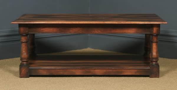 Vintage English 17th Century Style Oak Rectangular Pot Board Coffee Table (Circa 1980) - yolagray.com