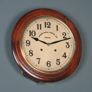 "Antique 16"" Anglo Swiss Admiral Mahogany Railway Station / School Round Dial Wall Clock (Chiming) - yolagray.com"