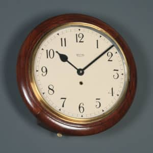 "Antique 15"" Mahogany Smiths Enfield Railway Station / School Round Dial Wall Clock (Timepiece) - yolagray.com"