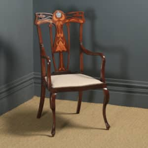 Antique English Edwardian Art Nouveau / Jugendstil Marquetry Inlaid Mahogany Occasional Salon Carver Arm Chair (Circa 1910) - yolagray.com