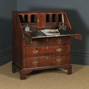 Antique English 18th Century Georgian Figured Walnut Inlaid Bureau Writing Desk (Circa 1750) - yolagray.com