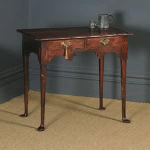 Antique English Georgian Elm Occasional Hall Writing Lowboy Side Table (Circa 1740) - yolagray.com
