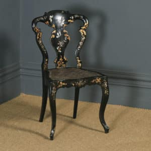 Antique English Victorian Ebonised Gilt & Mother of Pearl Chinoiserie Occasional Side Chair (Circa 1850) - yolagray.com