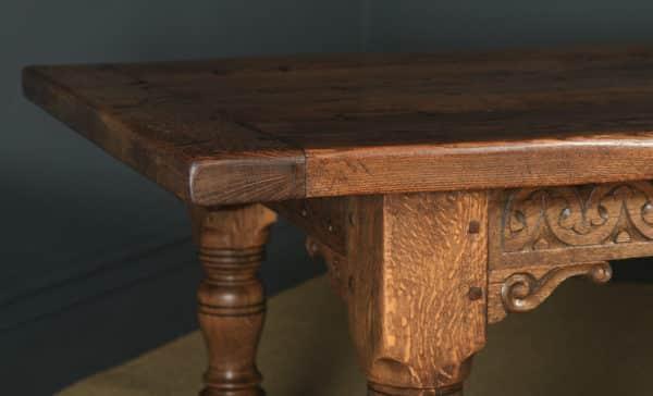 English 17th Century Style 8ft Oak Farmhouse Kitchen Refectory Table (Circa 1980) - yolagray.com