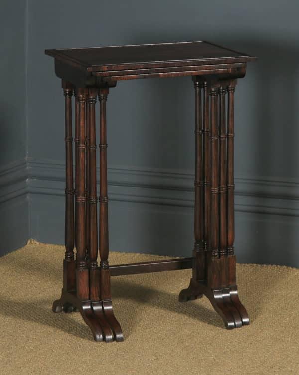 Antique English Set of Three Georgian Regency Rosewood & Mahogany Trio Nest of Side / Lamp / Coffee Tables (Circa 1820) - yolagray.com